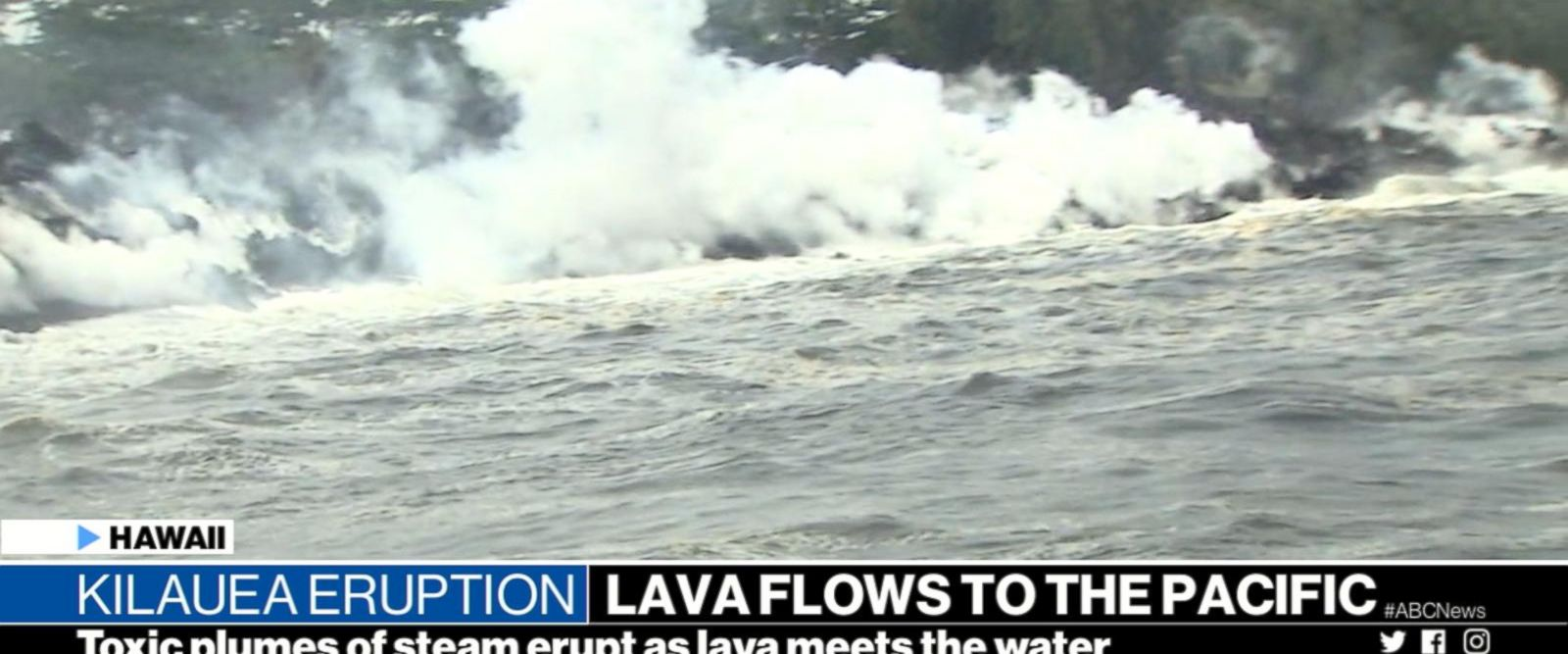 VIDEO: Lava flows into the ocean, causes toxic plumes