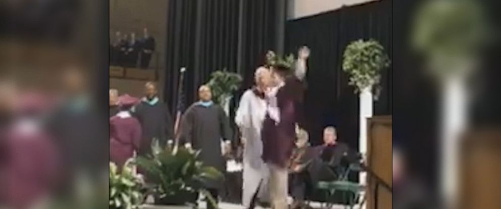 VIDEO: Carlos Neria made sure everyone knew how excited he was to get his diploma.