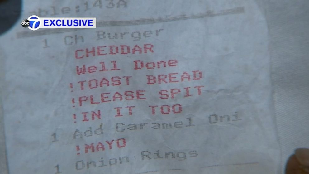 Man's food order comes with 'spit' remark on receipt Video - ABC News