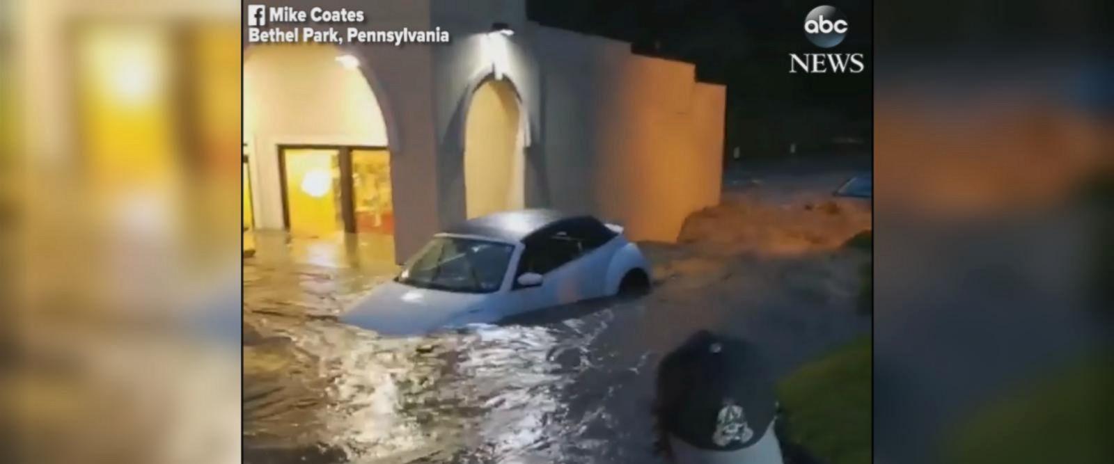 VIDEO: Heavy flooding inundates Pennsylvania parking lot