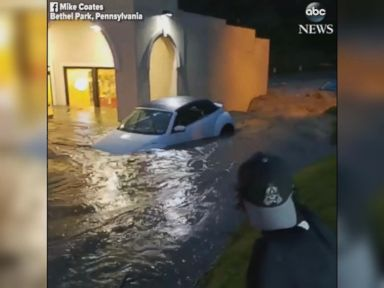 WATCH:  Heavy flooding inundates Pennsylvania parking lot