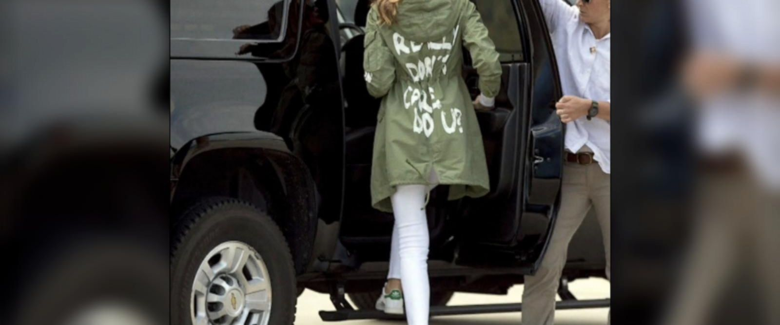 VIDEO: First lady wears controversial jacket to border visit