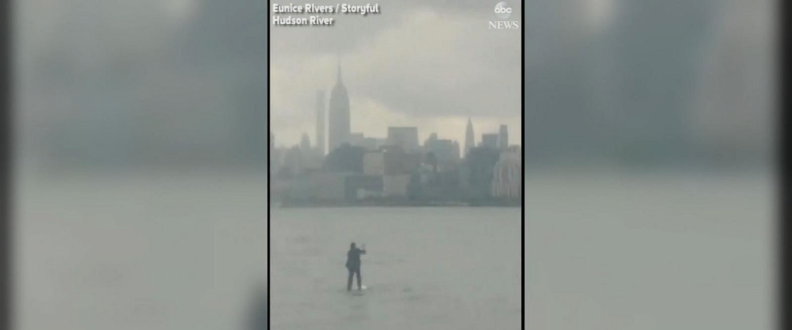 VIDEO: Paddleboarder commutes across the Hudson River