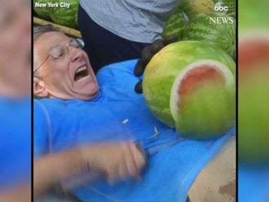 WATCH:  Man sets new watermelon-slicing record