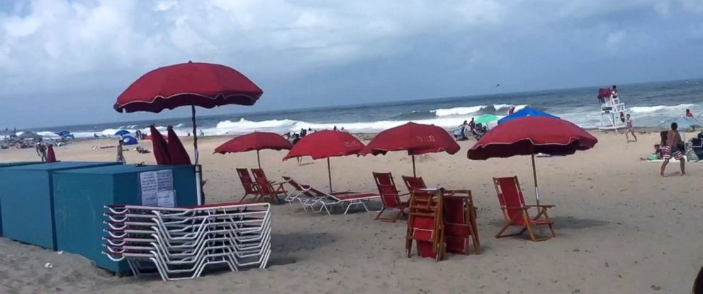 VIDEO: A woman enjoying a day at the beach in Maryland was impaled in the chest by a flying beach umbrella on Sunday.