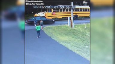 7-year-old nearly hit while crossing street for school bus Video