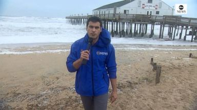 Hurricane wind gusts pick up at Kitty Hawk pier in North