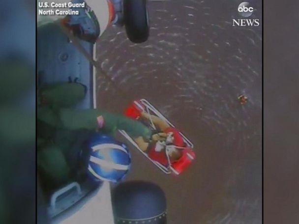 WATCH:  U.S. Coast Guard performs aerial rescues in North Carolina
