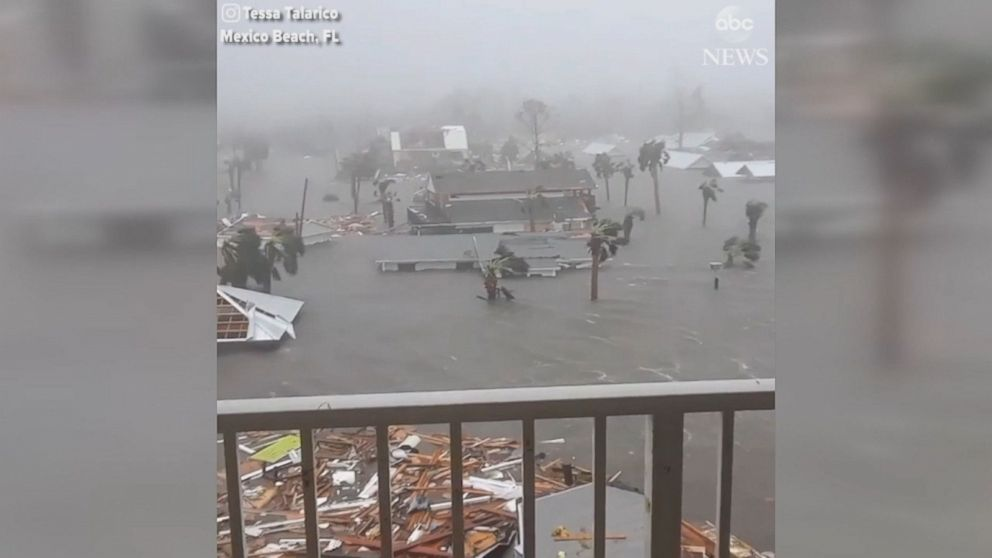 Structures were destroyed and streets were turned into rivers in Mexico Beach, Florida.