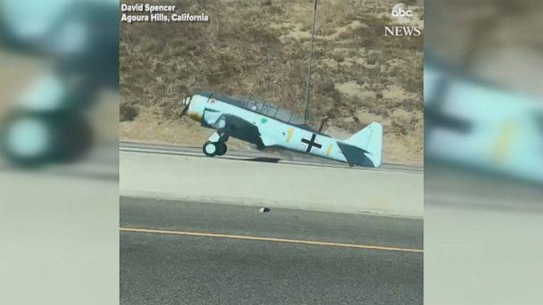 Plane crash-lands on busy California freeway