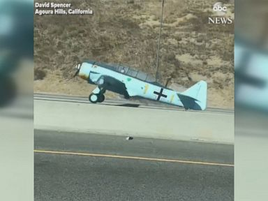 WATCH: Plane crash-lands on busy California freeway