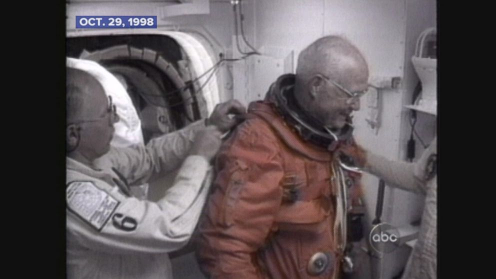 John Glenn becomes the oldest person to enter space.