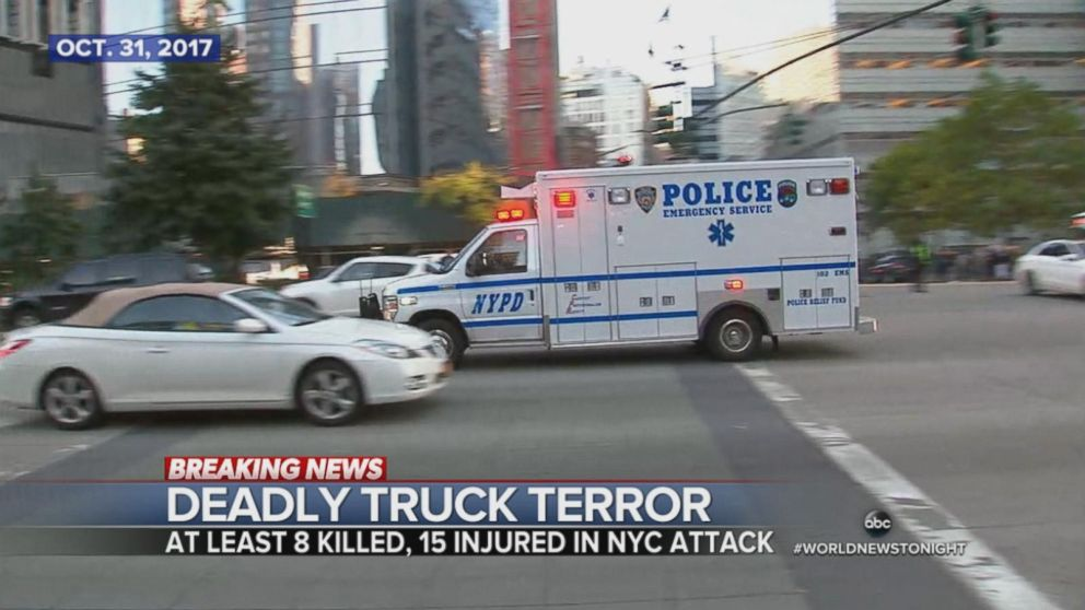 In an act of terror, a pickup truck plows into pedestrians in New York City.