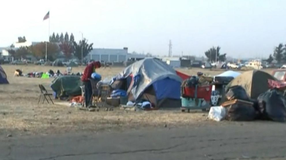Inside wildfire evacuation tent city