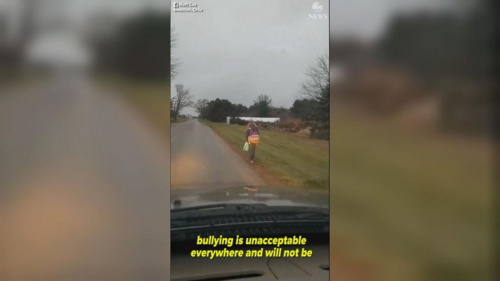 VIDEO: Ohio dad makes his bullying daughter walk to school