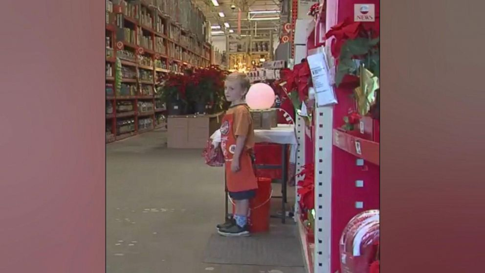VIDEO: 6-year-old Drew has already landed his first job: a part-time gig as a store greeter, bringing holiday cheer to Home Depot shoppers in Southern California.