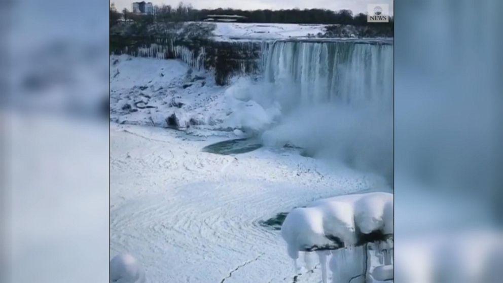 VIDEO: Winter scenery at Niagara Falls wows visitors