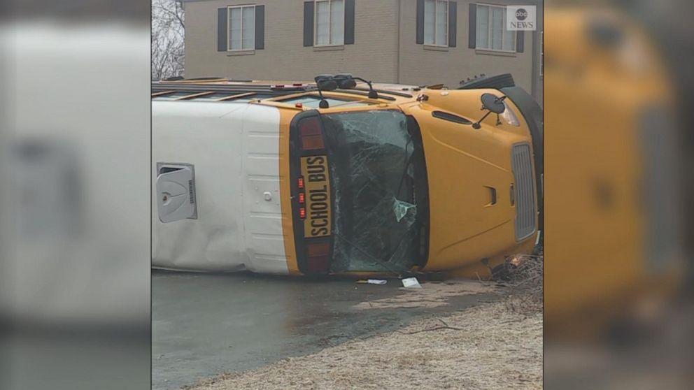 VIDEO: School bus overturns on icy road