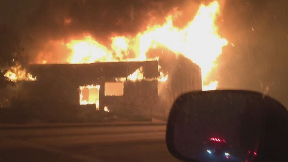 VIDEO: Brian Andrews, a 52-year-old retired firefighter, captured video of the fiery destruction while driving from his home.