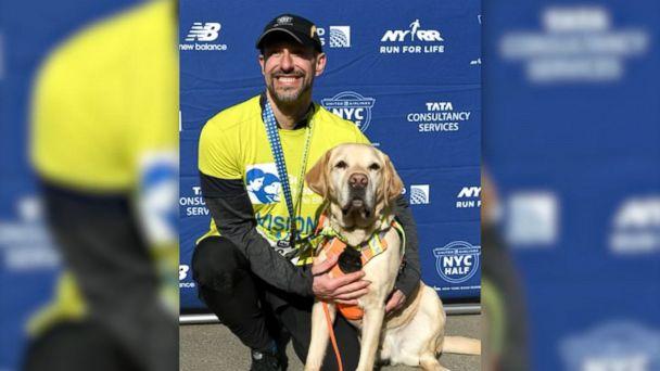 Blind man finishes New York City half marathon