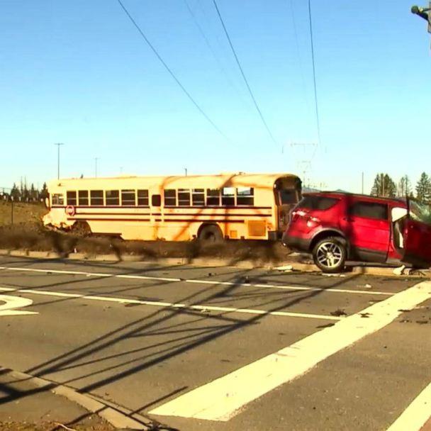Speeding semi-truck slams into school bus | GMA