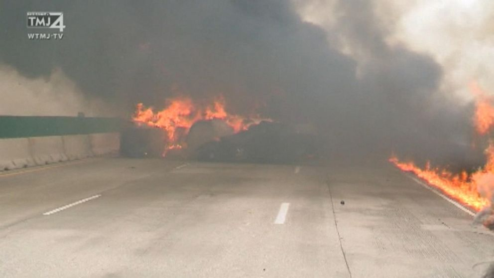 Semi-truck crashes, explodes on interstate in Wisconsin