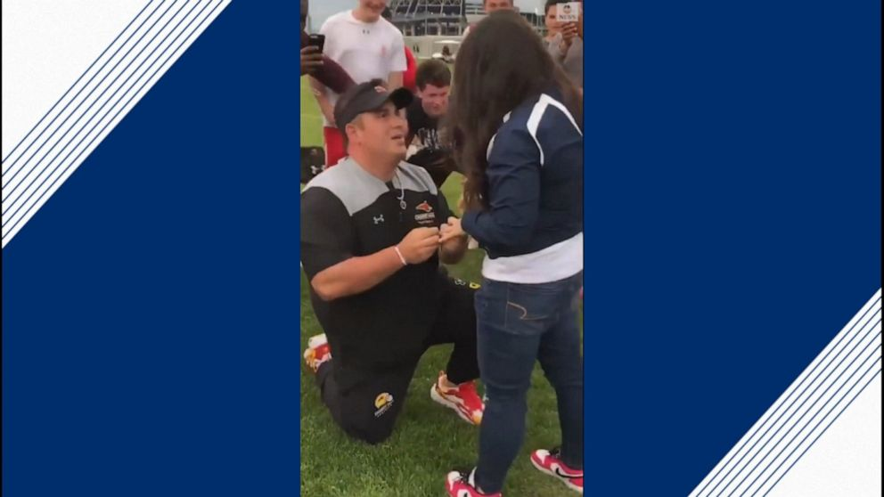 Penn State football coach helps couple get engaged
