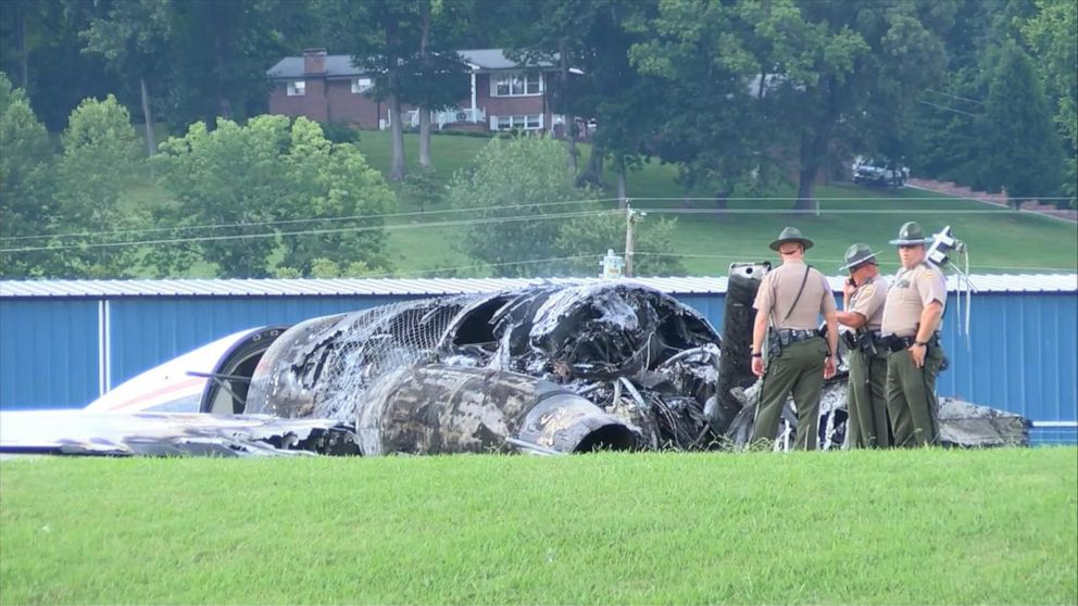 PHOTO: First responders on the scene after Dale Earnhart Jr.s plane crashed in Tennessee, August 15, 2019.
