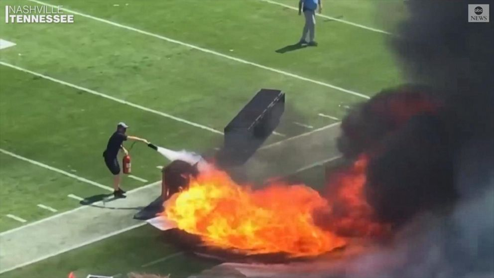 Pyrotechnics machine catches fire on field before NFL game