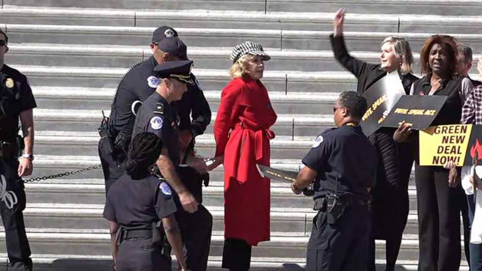 Actress Jane Fonda arrested for second time protesting climate change in Washington