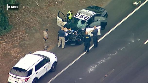 Uber passenger fatally struck by patrol car after jumping highway median