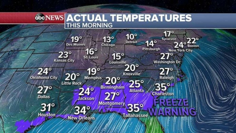 PHOTO: Freeze Warnings stretch from Texas to the Carolinas.
