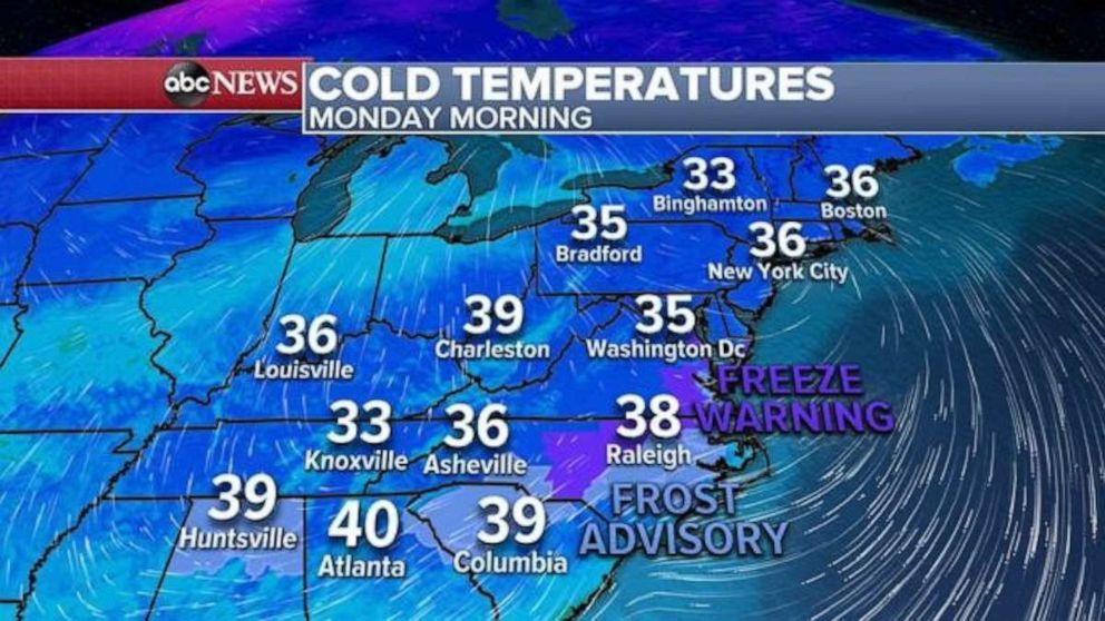 PHOTO: This morning, the coldest air of the season stretches from Birmingham, Alabama to Boston, Massachusetts, where the actual temperatures are in the 30's.