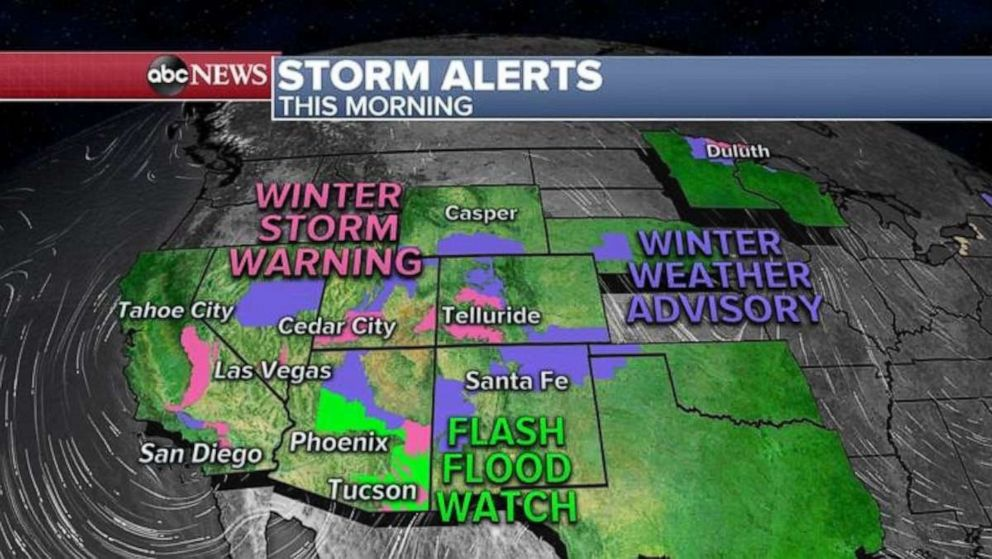 PHOTO: Storm Alerts continue for 14 states this morning from California to Maine as a complex storm system moves through the US from coast to coast.