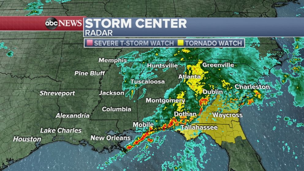 Us Weather Map Florida Severe weather hits Southern US   ABC News