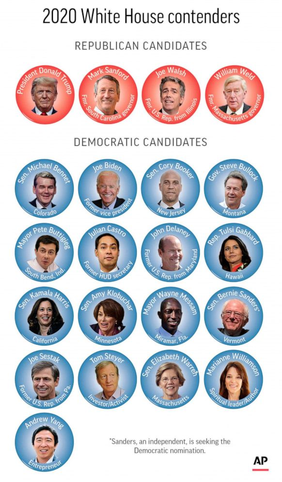 PHOTO: Candidates still in the race for president in 2020.