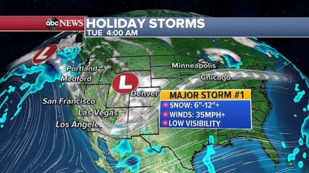 PHOTO: A major storm will bring major winter impacts to a large part of the west coast, with locally over 2 feet in some of the mountains, and possible flash flooding in southern California.
