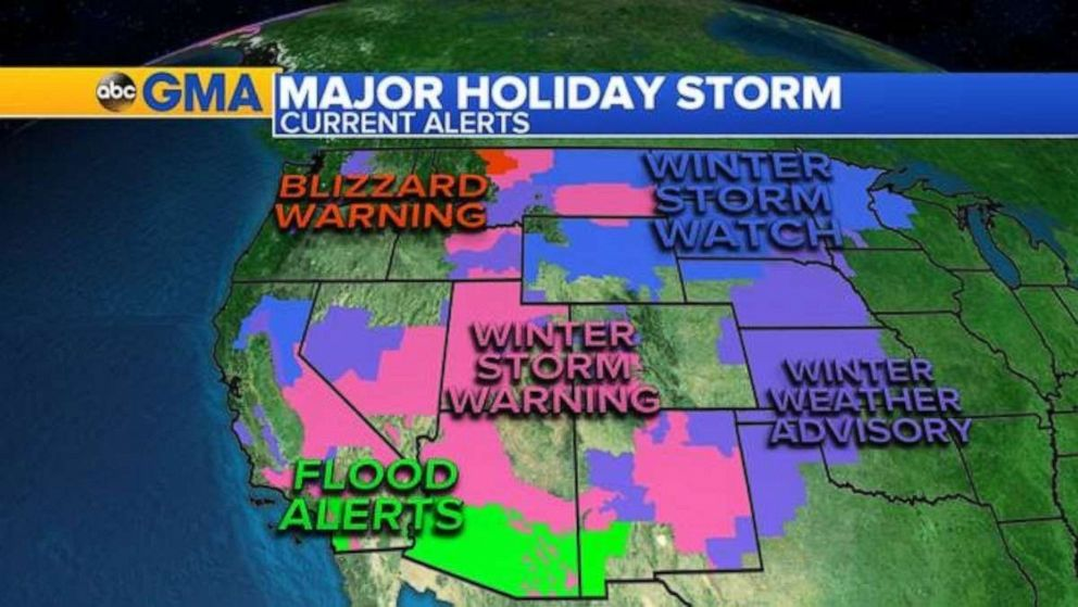 PHOTO: Twenty states from California to Michigan are under alert as the major storm out west continues to bring heavy mountain snow, blizzard conditions ice, flooding rain, and gusty winds across the region.