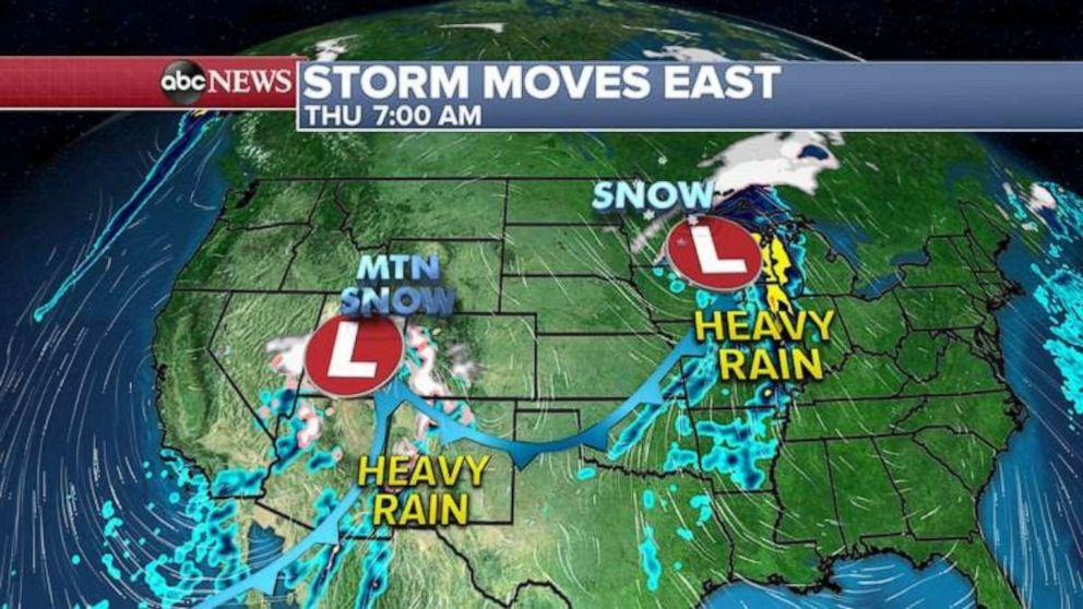 PHOTO: For the rest of today, heavy snow will continue in the Rockies, especially in the Colorado Rockies with snow even flying in Denver.