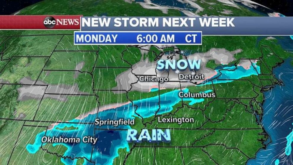 PHOTO: The new storm system will already be moving through the Midwest with snow from Chicago to Detroit.