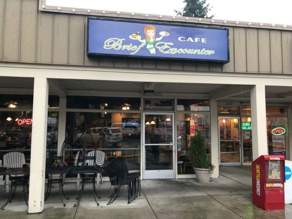 PHOTO: The front of the Brief Encounter Cafe, owned by Melanie Bard, in Bellevue, Washington, where Dwayne Clark left the staff a generous tip.