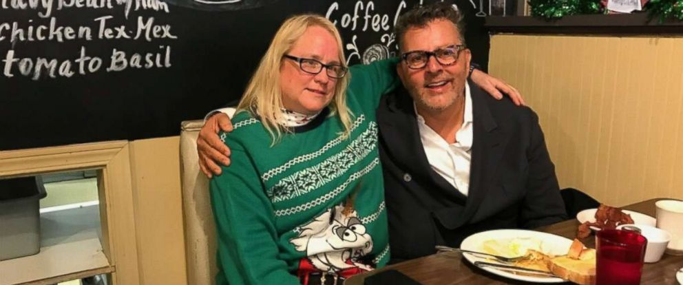 PHOTO: Dwayne Clark, CEO of Aegis Living, and Julie Welsand, a waitress at the Brief Encounter Cafe, on Dec. 18th, 2017, when Clark went back to visit the diner staff after he left a $3,000 dollar tip for their hard work around the holidays.
