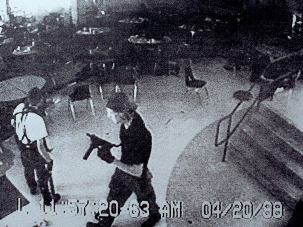 PHOTO: Columbine high school shooters Eric Harris, left, and Dylan Klebold appear on a surveillance tape in the cafeteria at Columbine High School April 20, 1999 in Littleton, Colorado.