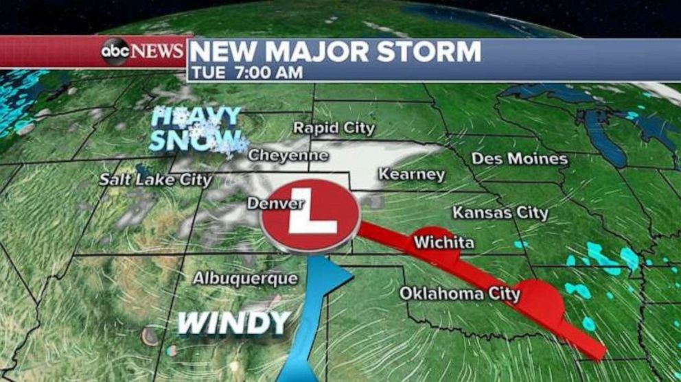 PHOTO: Periods of heavy snow will occur in the Denver metro area Monday night and Tuesday. Difficult travel is expected and mountain travel may be nearly impossible.