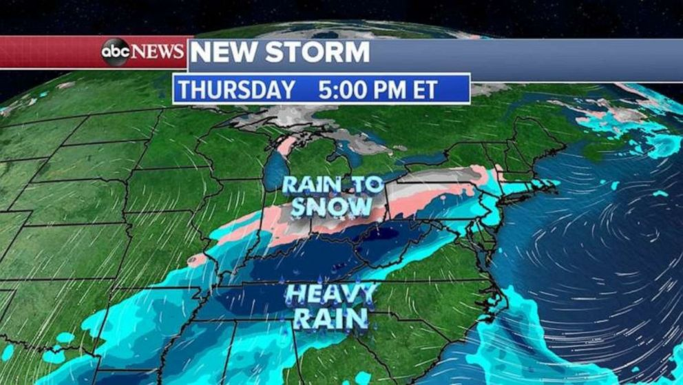 PHOTO: This storm system will interact with colder air spilling into the area and places from the Midwest to the Northeast could see its first snow of the season.
