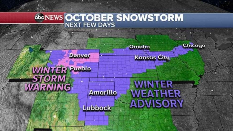 PHOTO: A new round of snow is moving East from the Rockies into the Midwest.
