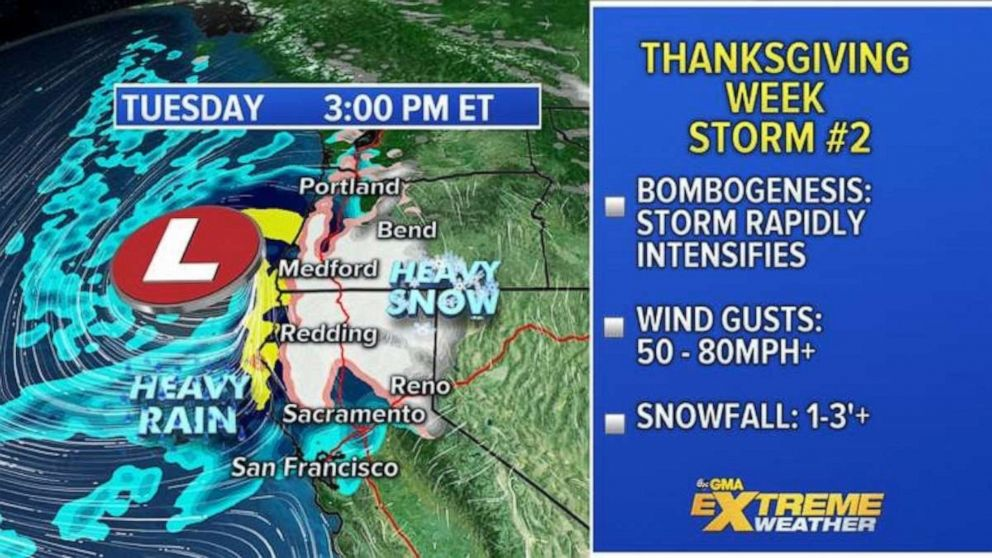 PHOTO: The second storm will arrive on the West Coast later Tuesday. This storm looks like it will rapidly intensify as it approaches the western U.S., undergoing Bombogenesis.