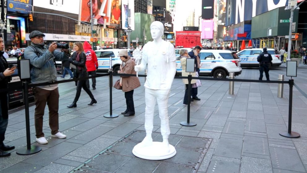 Installation of a 3-D printed activist by nonprofit Change the Ref is a statement against gun violence and meant to encourage voter registration.