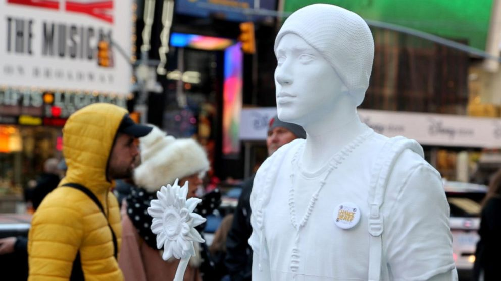 PHOTO: Installation of a 3-D printed activist by nonprofit Change the Ref is a statement against gun violence and meant to encourage voter registration.