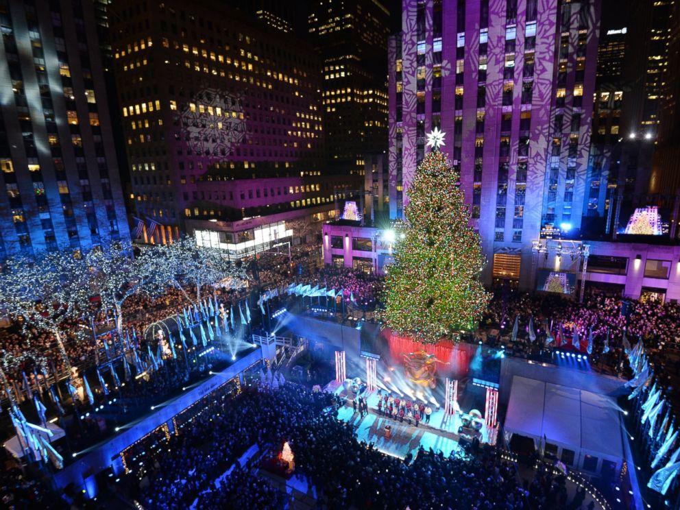 PHOTO: The Rockefeller Center Christmas Tree is lit December 4, 2013 in New York.